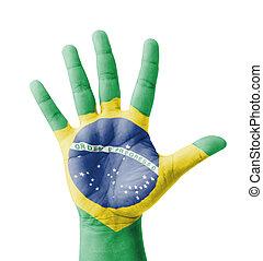 Open hand raised, multi purpose concept, Brazil flag painted...