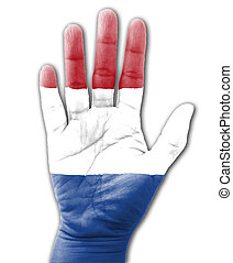 Open hand raised, multi purpose concept, Netherlands flag painted - isolated on white background