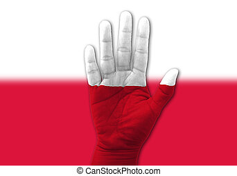 Open hand raised, multi purpose concept, Poland flag painted