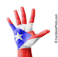 Open hand raised, multi purpose concept, Puerto Rico flag...