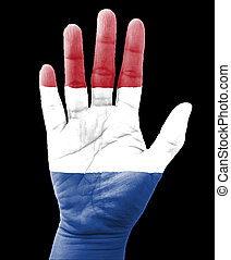 Open hand raised, multi purpose concept, Netherlands flag painted - isolated on black background