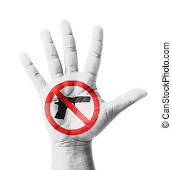 Open hand raised, No Gun sign painted
