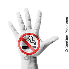 Open hand raised, No Smoking sign painted