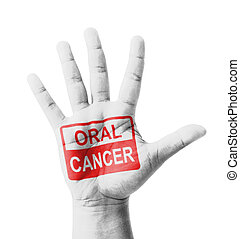 Open hand raised, Oral Cancer (Mouth Cancer) sign painted, multi