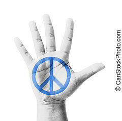 Open hand raised, Peace sign painted