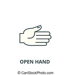 Open hand vector line icon, linear concept, outline sign, symbol