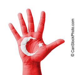 open hand, verheven, multi, doel, concept, kalkoen vlag,...
