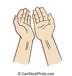Open Hands Praying - Two open palm praying, vector...