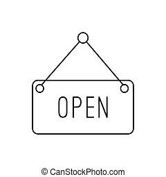 Open hanging sign line icon