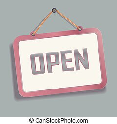 Open hanging Sign on the Wall