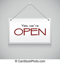 Open hanging sign - Open sign board hanging on the white...
