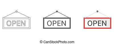 Open hanging sign vector icons