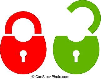 open, hangslot, gesloten, pictogram