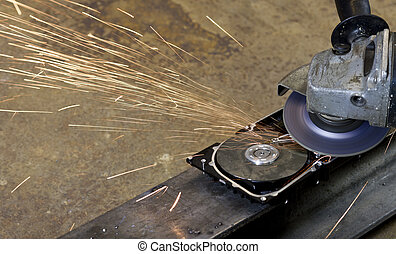 open hard disk with circular saw