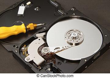 Open hard drive for repair,