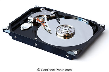 Open hard drive on white background