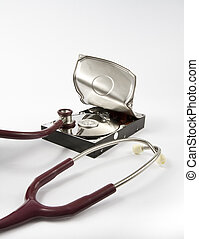 Open hard drive with stethoscope