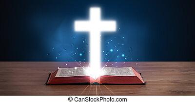 open, heilige bijbel, met, gloeiend, kruis, ertussen