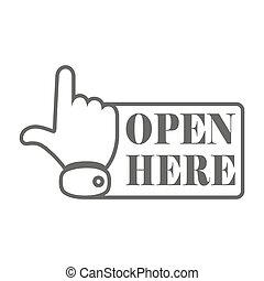 Gray open here icon. Vector illustration. - Open here sign...