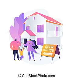 Open house abstract concept vector illustration. open for ...