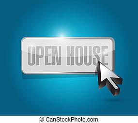 open house button sign concept