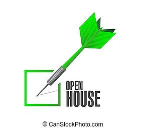 open house check dart sign concept