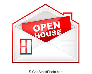 Open House - Envelop in shape of house with paper inside. 2D...