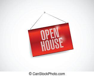 open house hanging banner illustration design