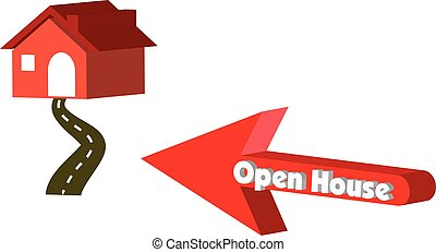Open House in red arrow pointing to a 3D vector house.