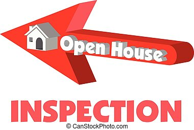 Open House in red arrow pointing to a 3D vector house for inspection