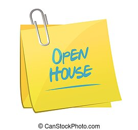 open house memo post illustration design over a white ...