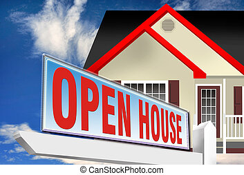 Open House. - Open house with sign in front yard.