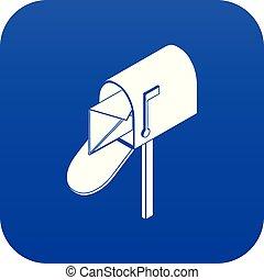 Open house postbox icon blue vector