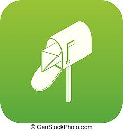 Open house postbox icon green vector