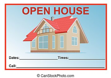 open house sign, vector illustration