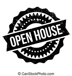 Open house stamp. Grunge design with dust scratches. Effects...