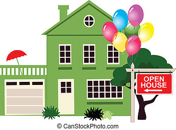 Suburban house with a sign Open House in front of it with balloons, no transparencies, vector illustration