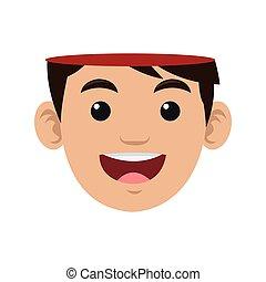 open human head icon - flat design open human head icon...