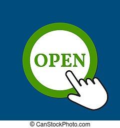 Open icon. Discover concept. Hand Mouse Cursor Clicks the Button.