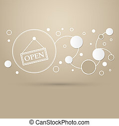 Open Icon on a brown background with elegant style and modern design infographic.