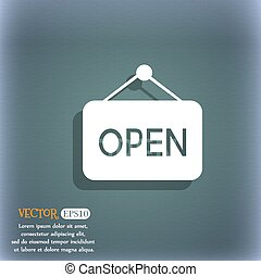 open icon. On the blue-green abstract background with shadow and space for your text. Vector