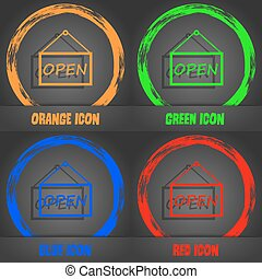 open icon sign. Fashionable modern style. In the orange, green, blue, red design. Vector