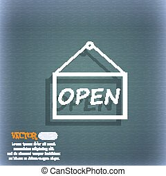 open icon sign. On the blue-green abstract background with shadow and space for your text. Vector