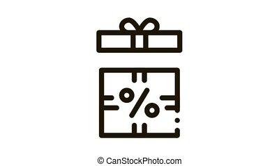 Open Interest Gift Icon Animation. black Open Interest Gift animated icon on white background
