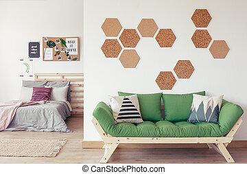 Open interior with cork decor