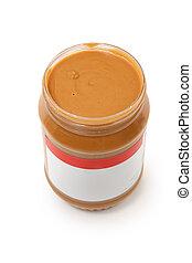 Open Jar of Creamy Peanut Butter