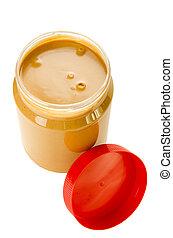 Open jar of peanut butter