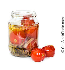 Open jar of pickled tomatoes