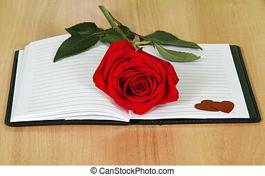 Open journal book with a red rose