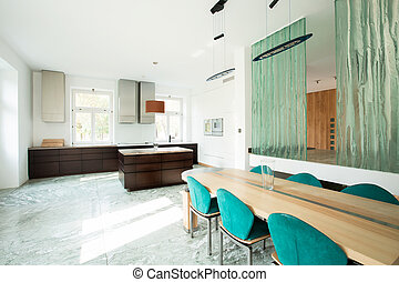 Open kitchen and dinning room in modern house